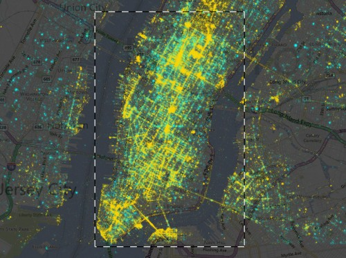 Geo-localized data from social media uploads New York