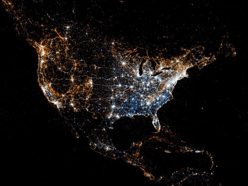 Geo-localized data from social media uploads North America