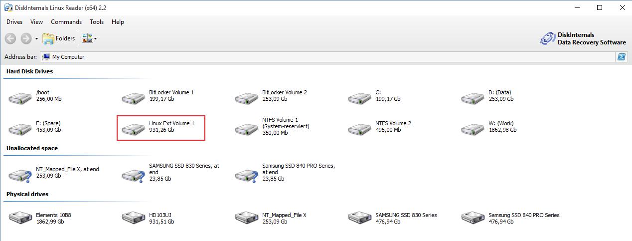 Linux Dateisystem (ext2, ext3, ext4 usw ) unter Windows 10